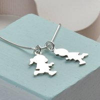 Personalised Boy Or Girl Silver Necklace For Mum, Silver
