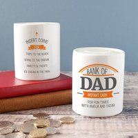 Personalised 'Bank Of Dad' Instant Cash Money Box, Teal/Orange/Grey