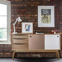 Classic Mid Century Sideboard With Drawers, Pale Gold/Gold/White