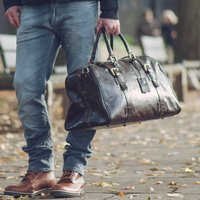 Quality Large Leather Travel Bag. The Flero El, Chestnut/Tan/Dark Chocolate
