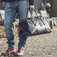 Quality Large Leather Travel Bag. The Flero El, Chestnut/Tan/Dark Chocolate