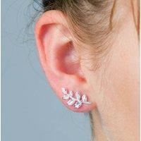 Fern Leaf Stud Silver Earrings, Silver