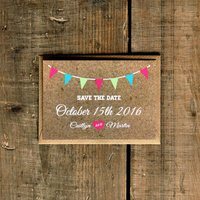 Vintage Bunting Kraft Effect Save The Date Card