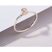 9ct Mixed Gold Diamond Engagement Ring, Gold