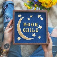 'Moon Child' Embroidered Wall Art