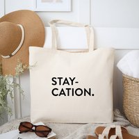 Staycation Cotton Canvas Holiday Tote Bag