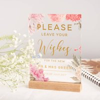 Personalised Floral And Gold Guest Book Wedding Sign