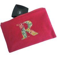 Liberty Print And Cerise Velvet Initial Make Up Bag