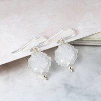 Snowball White Christmas Quartz Silver Earrings, Silver