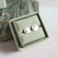 Disco Ball Hammered Round Silver Stud Earrings, Silver
