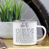 'Give A Man A Bike' Enamel Mug