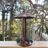Dual Seed And Nut Bird Feeder With Copper Finish