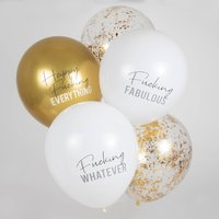 White And Gold 'Happy Fucking Everything' Balloons
