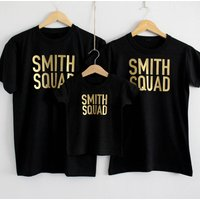 Family Personalised Squad T Shirt Set, Gold/Bronze/Silver