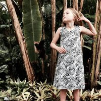 Monochrome Tropical Swing Dress