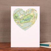 St James's Park Map Heart Card