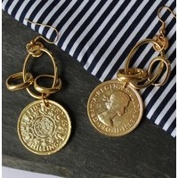 Coin Earrings, Silver/Gold