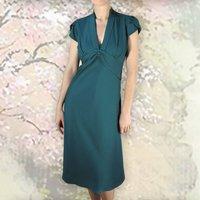 Petal Sleeve 1940s Tuxedo Collar Dress In Emerald