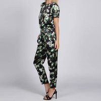 Floral Silk Satin Relaxed Fit Trousers