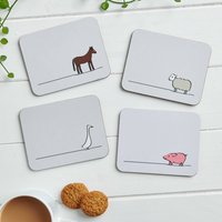 Farm Collection Coasters, Set Of Four