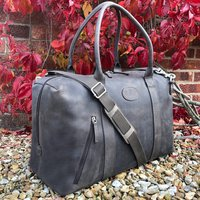 Grey Leather Holdall, Travel Bag, Gym Bag