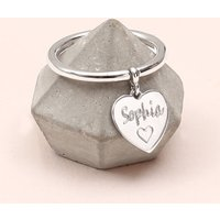 Personalised Sterling Silver Charm Ring, Silver