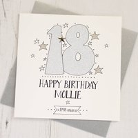 Personalised Sparkly Age Card, Gold/Glitter/Silver