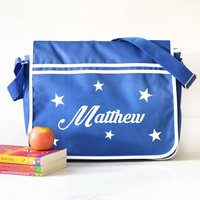 Personalised Star Blue Retro Messenger Bag