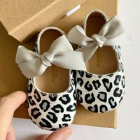 Silver Leopard Leather Baby Shoes With Keepsake Box