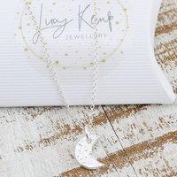 Sterling Silver Handmade Moon Personalised Pendant, Silver
