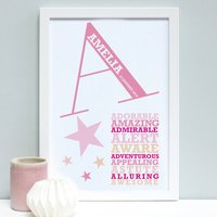 Personalised New Baby Words Framed Print, Blueberry/Coral/Rose
