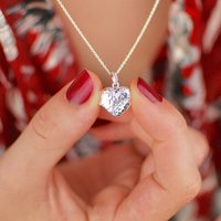 Personalised Sterling Silver Hammered Heart Locket, Silver