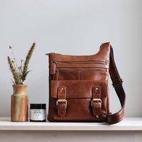 Leather Crossbody Pocket Messenger Bag, Tan