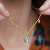 Blue Topaz And Sapphire 18ct Gold Vermeil Necklace, Gold