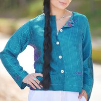 Turquoise Pure Silk Hand Stitched Ladies Jacket