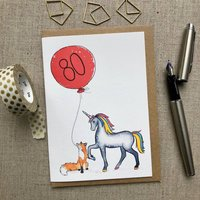 Personalised 80th Birthday Rainbow Unicorn And Fox Card