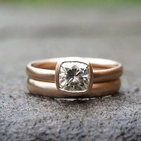 Recycled 9ct Rose Gold Ring Set With 1ct Moissanite, Gold