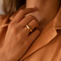 Chunky 18 K Gold Plated Dome Stacking Ring, Gold