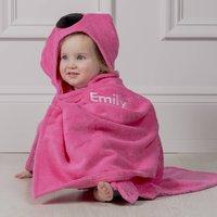 Personalised Franny The Flamingo Hooded Toddler Towel, Black/Orange/Pink