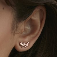 Multi Star Stud Earrings In Silver, Gold Or Rose, Silver