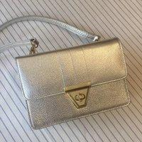 Silver Leather Cross Body Bag With Detachable Zip Purse, Black/Tan/Grey