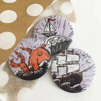 Pirate Ship And Sea Monster Badge Set