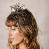 Peacock Crystal Fascinator, Brown/Navy/Black