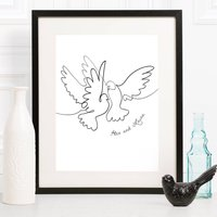 Personalised Wedding Two Doves Line Drawing