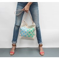 Handbag With Blue And Green Geometric Design, Blue