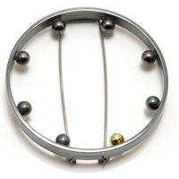 Oxidised Silver Round Brooch With Silver And Gold Balls, Silver