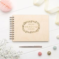Personalised Botanical Wooden Wedding Guest Book