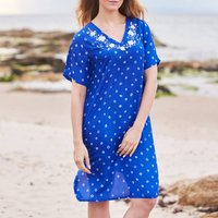 Blue Luxury Silk Embroidered Hand Dyed Dress