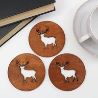 Drinks Coasters With Stag Design