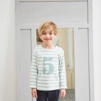 Age/Number T Shirt Seafoam And White Breton